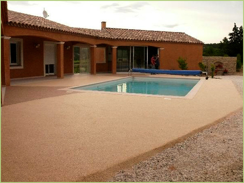 terrace and contours of swimming in carpet of marble color rosso verona