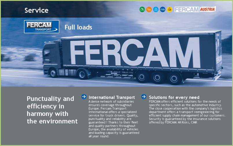 FERCAM international transports - a quality service